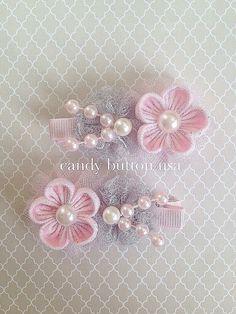 Pink Grey Hairclip Baby Girl Hairclip Newborn por candybuttonusa