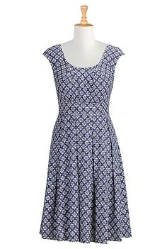 Tile print cotton dress from eShakti -- Love the color, and the fabric is soft and drapes nicely.