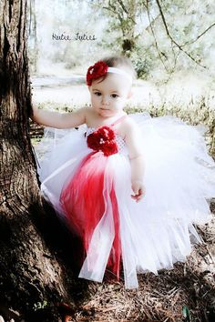 The Olivia Tutu Dress & Headband White and red by KutieTuties, $55.00