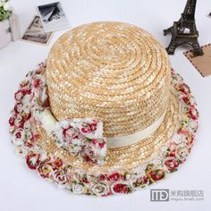 super sweet ~ new pastoral Floral bow hat children spring and summer the Korean version of the straw hat