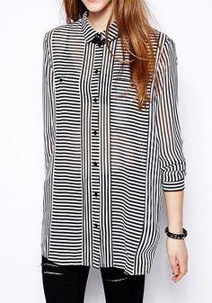 Black Striped Turndown Collar Long Sleeve Chiffon Blouse