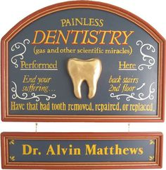 Gifts - Dentist Sign Personalized. Old fashioned vintage style signs ...