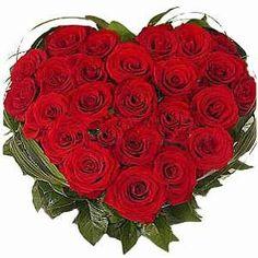 20 Red roses heart shape arrangement.