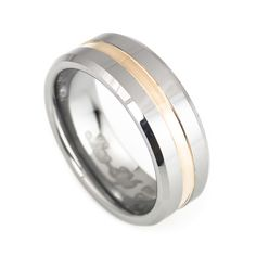 This men's Tungsten Wedding Ring is a simple yet stylish design that has a grooved center, plated with rose gold and beveled edges. Along with an inner design comfort fit, and its high polished smooth