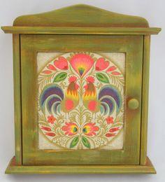Key cabinet with polish folk design,key box,wooden box,decoupaged cabinet wooden key holders