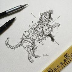 Geometric Beasts | Shark Process timelapse A video posted by Kerby Rosanes (@kerbyrosanes) on Feb 29, 2016 at 7:59pm PST Estupenda mezcla entre realismo y geometría de la pluma del ilustrador filip…