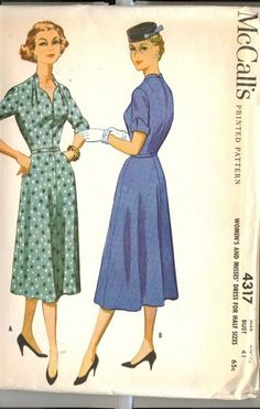 Vintage 1940's McCalls Sewing Dress Pattern, Printed Pattern 4137 Women's, Misses For Half Sizes, Size 20 1/2, Bust 41 sewing patterns retro 40's Fashionista Lady feminine Woman antique fashion design style clothing Post WWII fashions