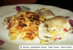 Halfilé sajtmártással Eggs, Meat, Chicken, Breakfast, Food, Drink, Morning Coffee, Beverage, Essen