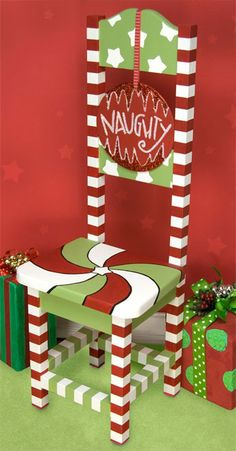 Naughty/Nice Chair project from DecoArt
