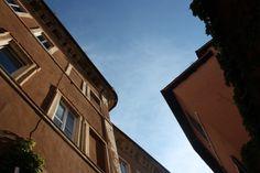 #street #Buildings #Sky #blue #contrast #rome #Trastevere