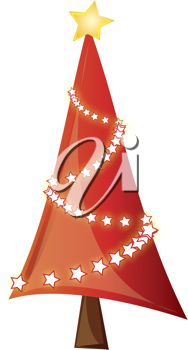 iCLIPART - Clip art illustration of a skinny Christmas tree with star garland.