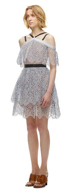 Off Shoulder Detail Tiered Mini Dress, Self Portrait