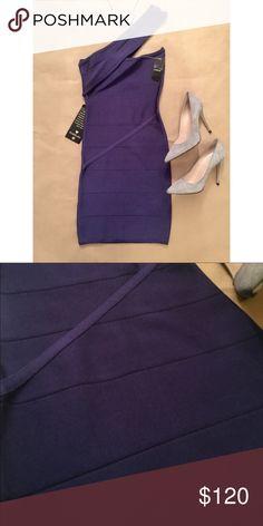 NWT Bebe One shoulder bandage dress NWT Bebe One shoulder bandage dress // gorgeous dress and beautiful color // too small for me 😕 bebe Dresses Mini