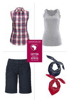 Feel Good Style mit Cotton made in Africa Mit den Spitzen-Tanktops von Boysen's, der Karobluse von Kangaroos und den Tüchern von MasterDis kreierst du im Handumdrehen einen sommerlich romantischen Country-Look. Das Beste: Für die Produkte wurde ausschließlich fair produzierte Baumwolle verwendet!