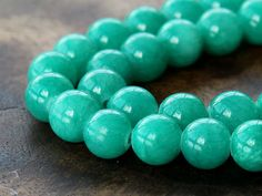 Mountain Jade Beads Sea Green 10mm Round  15 by GoldenAgeBeads