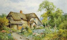 Henry John Sylvester Stannard: Cowdrays Cottage English Country Cottages, Cottage Art, Victorian Era, Country Life, House Styles, British, England, Paintings, Fashion