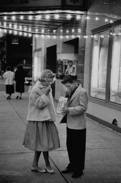 Teenage date night in the 1950s. Love how dressed up they got…  i was born in the wrong era