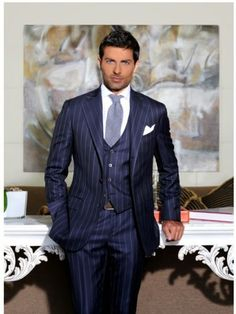Because we all know men look better in waistcoats and three piece suits! Please feel free to submit any photos of your favourite men in waistcoats/three piece suits Thanx! Blue Pinstripe Suit, Blue Suit Men, Grey Suits, Fashion Moda, Suit Fashion, Mens Fashion, Sharp Dressed Man, Well Dressed Men, Moda Hipster