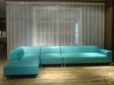 Turquoise Leather Sectional