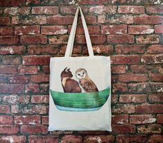 Owl And The Pussy Cat Cotton Tote Bag