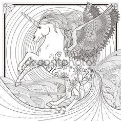 Fantástico unicornio - Ilustración de stock: 86002328