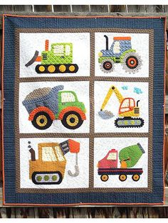 Any Little Boy Will Adore This Applique Quilt Pattern That Features Diggers And Pushers Of Dirt Little Boy Bedding Sets Baby Boy Patchwork Quilt Fabric Baby Boy Bedding Sets Cheap