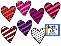 {{FREEBIE}} Striped Hearts (Kady Did Doodles). Holidays/Seasonal, Valentine's Day Set of seven striped hearts for commercial and personal use. They were very well hand-drawn, great job! Bulletin Board Borders, Bulletin Boards, Free Images For Blogs, Heart Clip Art, Image Font, Valentines Day Activities, Love Days, Valentine Day Love, Word Art