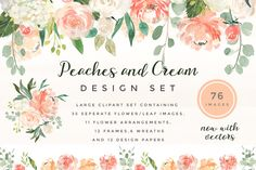 Peaches & Cream Flower Graphic Set  by Twigs and Twine on @creativemarket