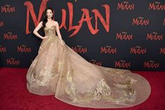 """Celebs At The """"Mulan"""" World Premiere Red Carpet Looked Like Princesses And Princes IRL - Liu Yifei Celebrities Looked Like They Were Out Of A Fairy Tale At The """"Mulan"""" World Premiere - Celebrity Style Casual, Celebrity Look, Meg Donnelly, Kendall Jenner Outfits, Celebrity Red Carpet, Red Carpet Looks, Red Carpet Dresses, Celebs, Celebrities"""