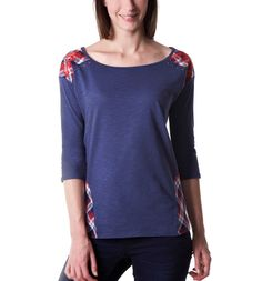 Top with checked detailing - Indigo - Women - Tops - Promod