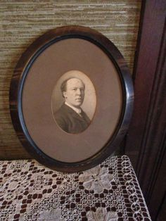 Antique Light Tiger Stripe Finish Wood Look Framed Gentleman Portrait Print Victorian Period Picture Frame by treasuretrovemarket on Etsy