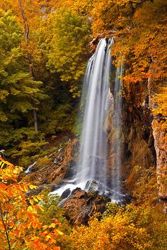autumn, Falling Springs Falls,  Douthat State Park in the Alleghany Highlands near Covington, Virginia