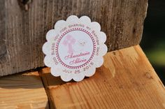 BAPTISM card stock sticker  ivory and merlot  by JustScrapsNThings