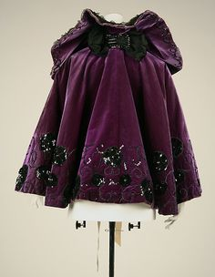 Beaded and Sequined Velvet Evening Cape, ca. 1894-98