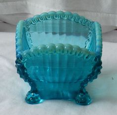 Antique 1890's Northwood Blue Opalescent Footed Small Berry Bowl or Jewel Tray #Northwood $39.99 + $7.50 Shipping