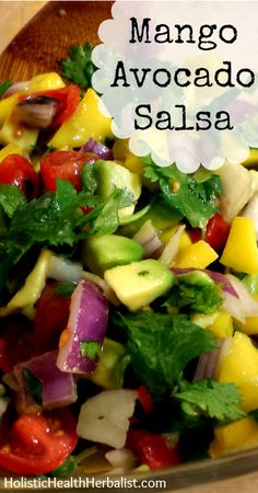 If you're not normally a fan of fruit salsas, don't turn away just yet! I promise you, this mango avocado salsa will become one of your all-time favorites as it offers every aspect you could ever hope for in a salsa. Mexican Food Recipes, Whole Food Recipes, Vegetarian Recipes, Cooking Recipes, Healthy Recipes, Avocado Recipes, Salad Recipes, Mango Avocado Salsa, Pineapple Salsa