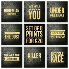 Set of 8  Queen Song Title Prints  Square by LittlePuffinPrints #musicposters #musictypography #design #poster #musiclyrics #esty #etsyshop #ebay #giftidea #homedecor #mancavedecor #mancave #wallart #quoteprints #musicprints #songart #fanart #setofprints #miniprints #queen #freddiemercury #rockposters #queenposters #queensongslyrics #bohemianrhapsody #anotheronebitesthedust #underpressure