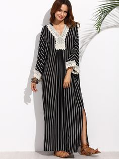 dd25a22a26 Black and White Stripe V-Neck Lace Hem Maxi Dress