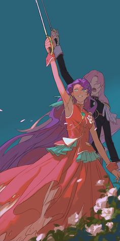 Anthy and Utena Manga Art, Manga Anime, Anime Art, Revolutionary Girl Utena, Frame By Frame Animation, Lesbian Art, Ecchi, Pretty Art, Cosplay