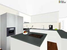 YOU DECIDE - What color would work well in this kitchen?  Cookies, apples & espresso machine in RoomSketcher: http://planner.roomsketcher.com/?ctxt=rs_com  3D floor plan for a kitchen with large refrigerator and lots of counter space designed in RoomSketcher by Yamil Cabrera