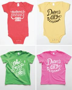 For little photo assistants - camera tees and onesies