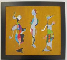 VINTAGE MID CENTURY MODERNIST FIGURES ABSTRACT 1967 OIL PAINTING SIGNED A. STELL #Cubism
