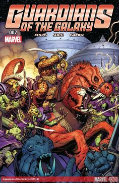 GUARDIANS OF THE GALAXY (2015) #7  Published: April 13, 2016  Added to Marvel Unlimited: October 10, 2016  Rating: Rated T  Writer: Brian Michael Bendis   Penciller: Valerio Schiti   Cover Artist: Arthur Adams   BEN GRIMM: SPACE BARBARIAN! The Thing might miss some things about Earth, but he does admit that space has its perks. Riding alien horses into epic battles is one of them!