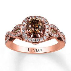 Le Vian features a round Chocolate Diamond at the center, framed in sweet Vanilla Diamonds, Swirls of Strawberry Gold; along the band are decorated with additional Vanilla Diamonds; and sprinkled with Chocolate Diamonds; Engagement Ring For Her, Chocolate Diamond Engagement Rings, Chocolate Diamond Wedding Rings, Chocolate Rings, Chocolate Chocolate, Engagement Bands, Gold Wedding Rings, Wedding Set, Beautiful Rings