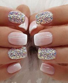 Nail Designs Glitter Gallery milky white ombre glitter nail designs images for ladies Nail Designs Glitter. Here is Nail Designs Glitter Gallery for you. Nail Designs Glitter pink and golden glitter nail designs on stylevore. Fancy Nails, Trendy Nails, Cute Nails, Stylish Nails, Milky Nails, Gel Nagel Design, Gorgeous Nails, Manicure And Pedicure, Pedicures