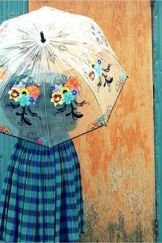 fitsmyfancy: Rain Delay (by Ms Midnight Maniac) painted umbrella Umbrella Art, Under My Umbrella, Rain Days, Umbrellas Parasols, Wool Berets, Dancing In The Rain, Blue Plaid, Vintage Dresses, Girly
