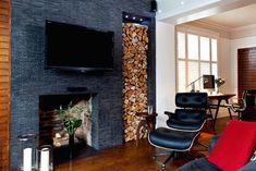 Firewood, decorative storage in 50 proposals. Indoor Log Holder, Indoor Log Storage, Indoor Firewood Rack, Firewood Storage, Two Sided Fireplace, Fireplace Logs, Fireplace Surrounds, Fireplace Design, Tiled Fireplace