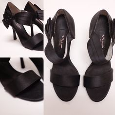 Nina Peep Toe Bow Heels Nina black bow heels with black crystal embellishments. No trades, offers welcome                                                                         ---------------------------------------                                                 All photos taken by me Nina Shoes Heels