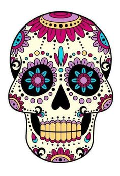 'skull purple' Sticker by Fabien photofab. Sugar Skull Artwork, Sugar Skull Painting, Body Painting, Sugar Skull Costume, Sugar Skull Makeup, Mexican Skulls, Mexican Art, Vintage Halloween, Halloween Crafts