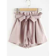 Frill Waist Self Tie Shorts ($15) ❤ liked on Polyvore featuring shorts, elastic waist shorts, loose fit shorts, frilly shorts, ruffle shorts and elastic waistband shorts